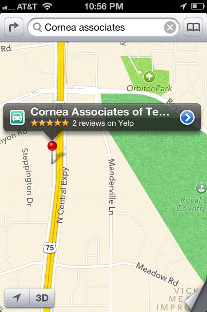 Cornea Associates Apple Maps Wrong Location