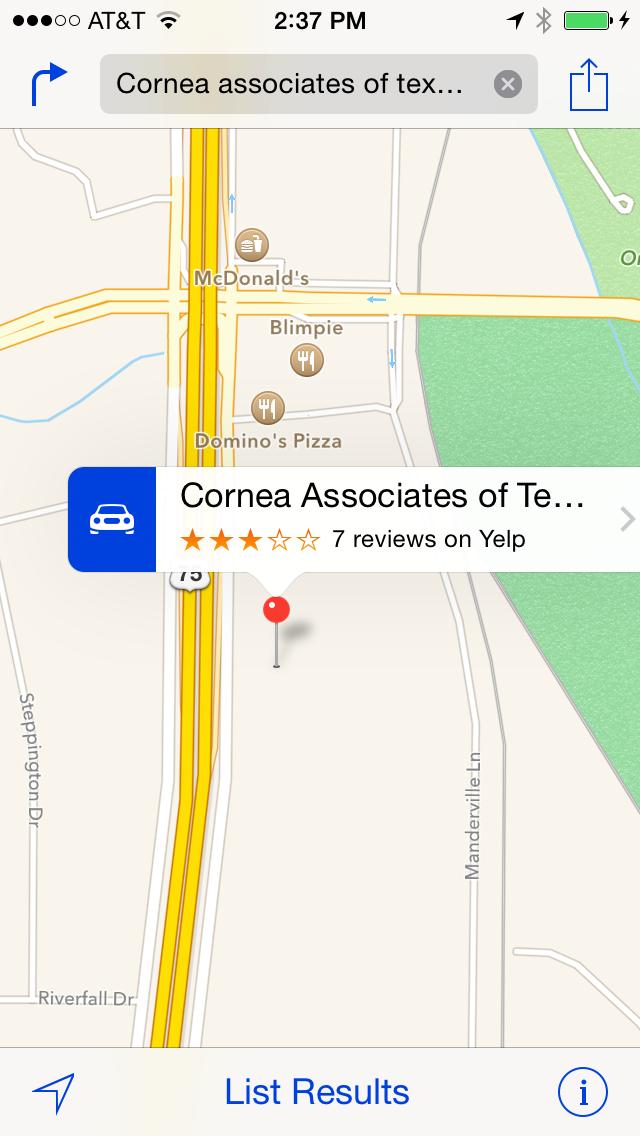 Cornea Associates of Texas Apple Maps Right Location