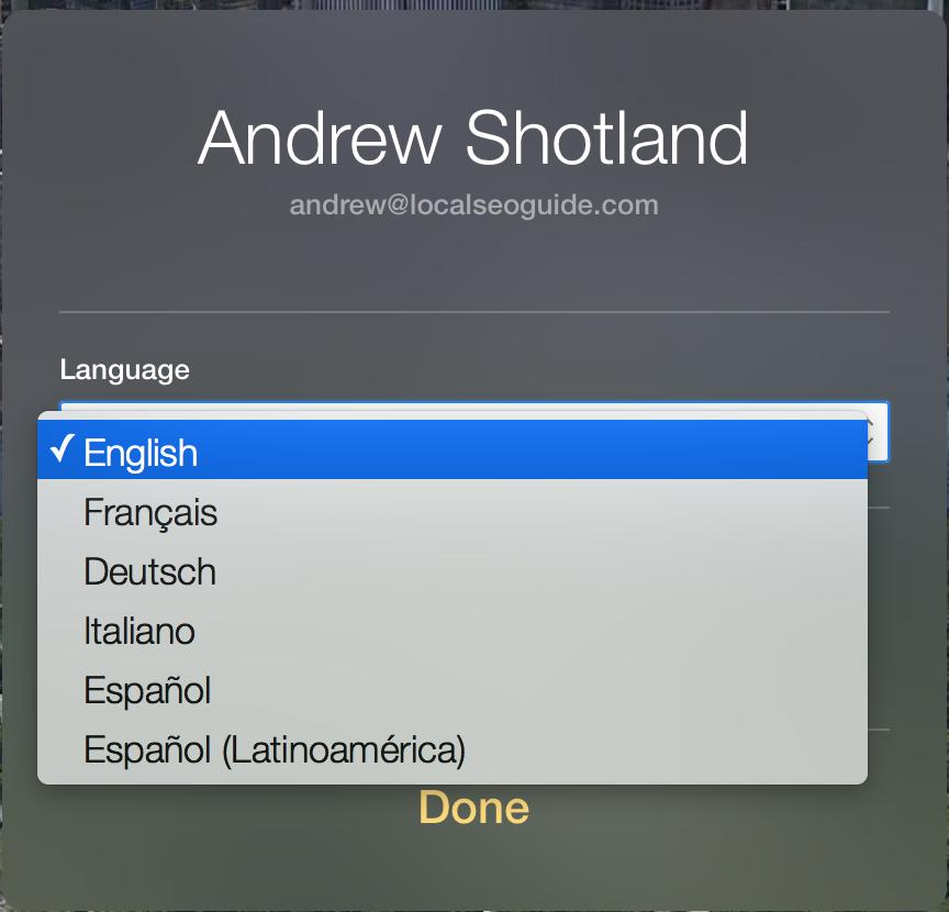 Apple Maps Connect - Choose Language