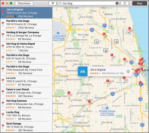 Apple Maps Hot Dog